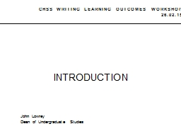 CHSS WRITING LEARNING OUTCOMES WORKSHOP