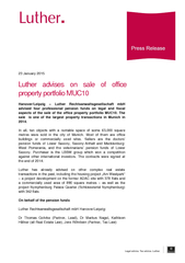 January  Luther advises on sale of office property po