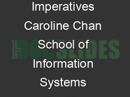 BB ECommerce Stages of Growth the Strategic Imperatives Caroline Chan School of Information Systems Deakin University Melbourne Australia Tel   Fax   caroline
