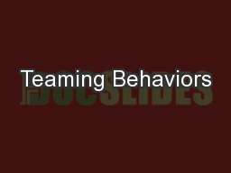 Teaming Behaviors