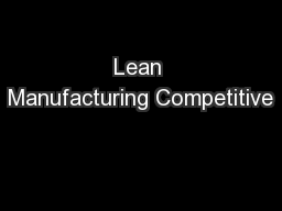 Lean Manufacturing Competitive
