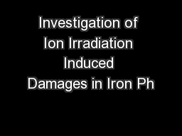 Investigation of Ion Irradiation Induced Damages in Iron Ph