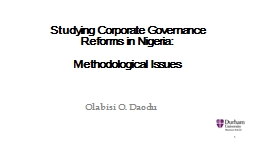 Studying Corporate Governance Reforms in Nigeria: