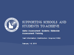 Idaho Assessment Systems Statewide Assessment Training