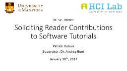 Soliciting Reader Contributions to Software Tutorials PowerPoint PPT Presentation