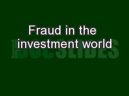Fraud in the investment world