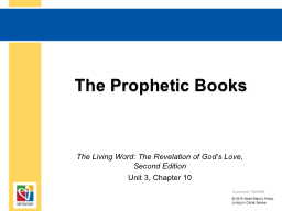 The Prophetic Books PowerPoint PPT Presentation