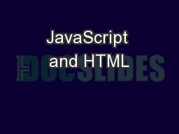 JavaScript and HTML