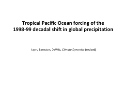 Tropical Pacific Ocean forcing of the