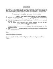 AFFIDAVIT TO BE SUBMITTED WITH THE APPLICATION FOR A