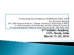 Innovating Governance to Implement SDGs 2030 PowerPoint PPT Presentation