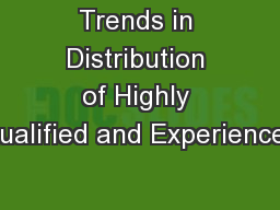 Trends in Distribution of Highly Qualified and Experienced