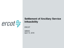 Settlement of Ancillary Service Infeasibility