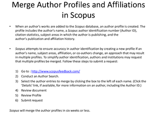 Merge Author Profiles and Affiliations in Scopus When