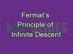 Fermat's Principle of Infinite Descent