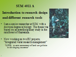 I am a senior researcher at SUM  with a doctoral degree in