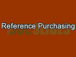 Reference Purchasing