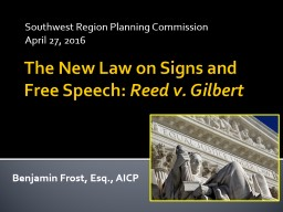 The New Law on Signs and Free Speech: