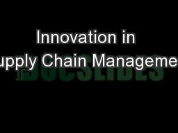 Innovation in Supply Chain Management
