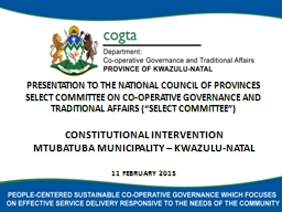 PRESENTATION TO THE NATIONAL COUNCIL OF