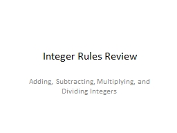 Integer Rules Review PowerPoint PPT Presentation