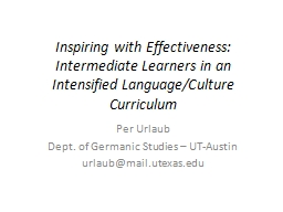 Inspiring with Effectiveness: Intermediate Learners in an