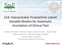 S14: Interpretable Probabilistic Latent Variable Models for
