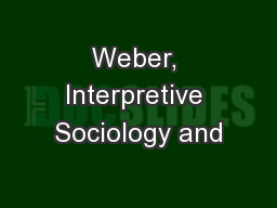 Weber, Interpretive Sociology and