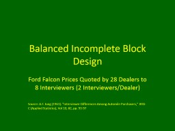 Balanced Incomplete Block Design