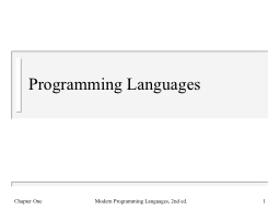 Programming Languages PowerPoint PPT Presentation