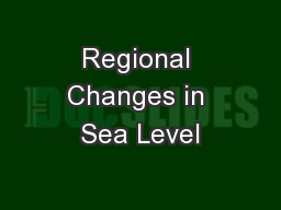 Regional Changes in Sea Level