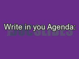 Write in you Agenda: PowerPoint PPT Presentation