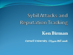 Sybil Attacks and Reputation Tracking