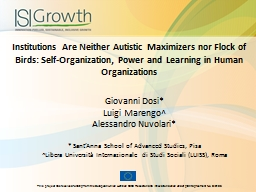 Institutions Are Neither Autistic Maximizers nor Flock of B PowerPoint PPT Presentation