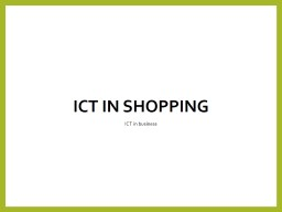 ICT in Shopping