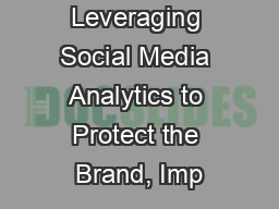 Leveraging Social Media Analytics to Protect the Brand, Imp