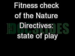 Fitness check of the Nature Directives: state of play