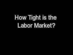 How Tight is the Labor Market?