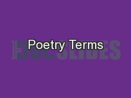 Poetry Terms PowerPoint PPT Presentation