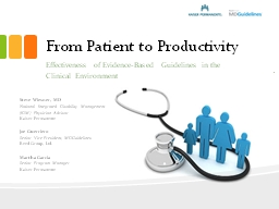 From Patient to Productivity