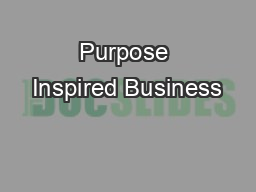 Purpose Inspired Business