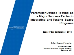 Parameter-Defined Testing as a Major Success Factor in Inte