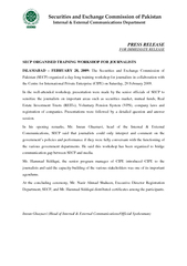 PRESS RELEASE FOR IMMEDIATE RELEASE SECP ORGANISED TRA