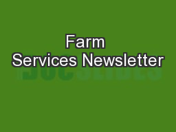 Farm Services Newsletter PowerPoint PPT Presentation