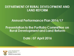 DEPARTMENT OF RURAL DEVELOPMENT AND LAND REFORM PowerPoint PPT Presentation