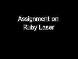 Assignment on Ruby Laser