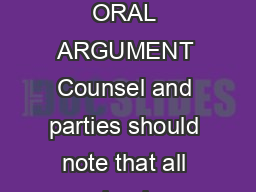Rev  ANSWERS TO FREQUENTLY ASKED QUESTIONS REGARDING ORAL ARGUMENT Counsel and parties should note that all calendar acknowledgment documents must be filed by counsel via the courts ECF system PowerPoint PPT Presentation