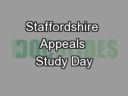 Staffordshire Appeals Study Day