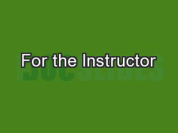 For the Instructor PowerPoint PPT Presentation