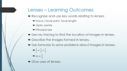 Lenses – Learning Outcomes